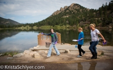 Volunteers collecting specimens at Lily Lake.