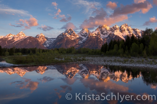 Sunrise in Grand Teton National Park with the Snake River.